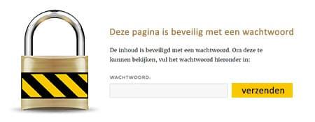 beveiligen pagina in wordpress