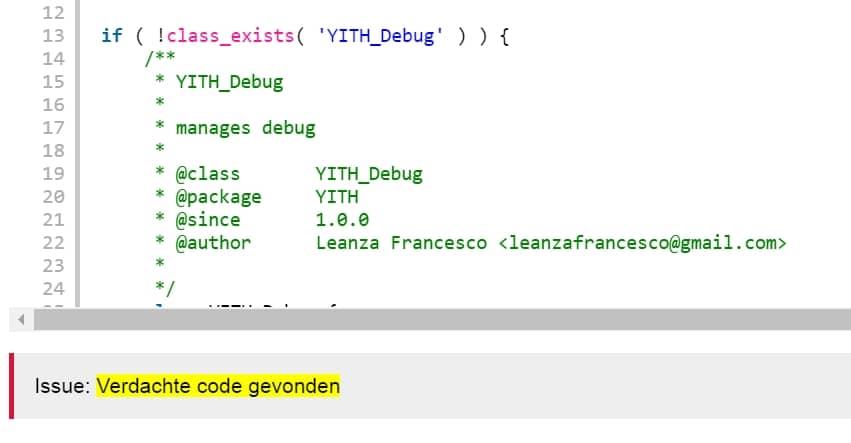 verdachte code gevonden